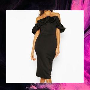 Boohoo Off the Shoulder Ruffle Midi Dress